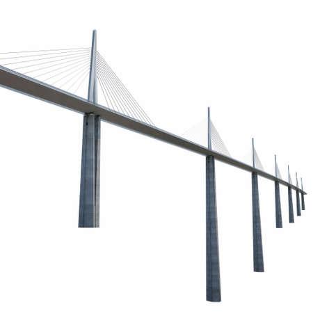 rural road: Millau Viaduct Bridge on white. 3D illustration