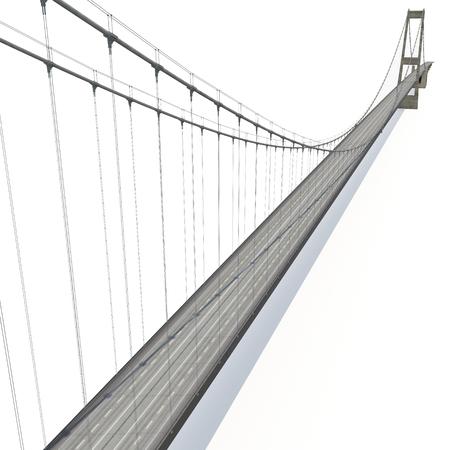 longest: Great Belt Fixed Link Bridge on white. 3D illustration