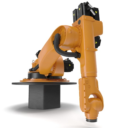 automate: Industrial Robotic Arm isolated on white. 3D illustration Stock Photo
