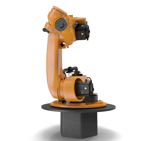 computer operator: Robot arm for industry isolated on white background. 3D Illustration