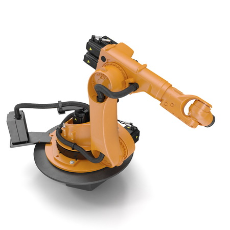 automate: Robot arm for industry isolated on white background. 3D Illustration
