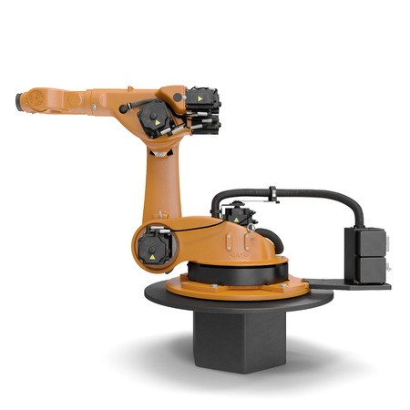 robotic hand machine tool isolated on white background. 3D illustration