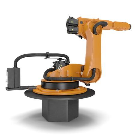 machining: robotic hand machine tool isolated on white background. 3D illustration