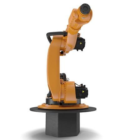 automate: robotic hand machine tool isolated on white. 3D illustration