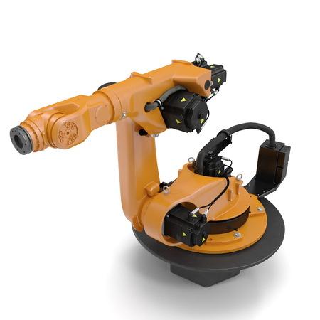 machining: robotic hand machine tool isolated on white. 3D illustration