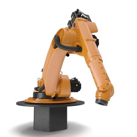 Orange robot arm for industry isolated on white background. 3D Illustration