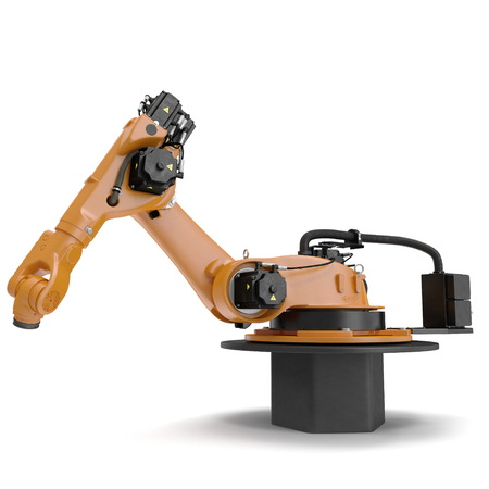 machining: Orange robot arm for industry isolated on white background. 3D Illustration