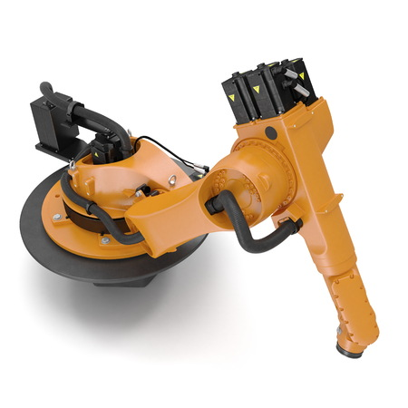 automate: Orange robot arm for industry isolated on white background. 3D Illustration