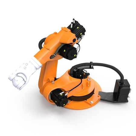 Robot arm for industry isolated on white. 3D Illustration