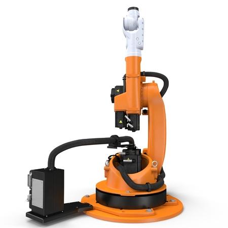 hitech: robotic hand machine tool isolated on white. 3D illustration