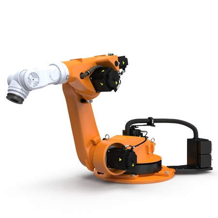 computer operator: Industrial Robotic Arm isolated on white. 3D illustration Stock Photo