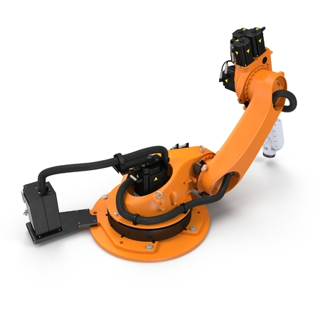 droid: Orange robot arm for industry isolated on white. 3D Illustration