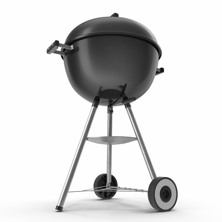 Black round barbecue appliance isolated on white. 3D Illustration, clipping path Stock Photo