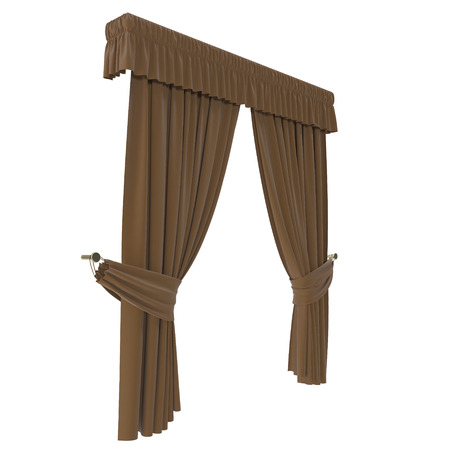 Classic brown curtain. Isolated on white background. 3D illustration, clipping path
