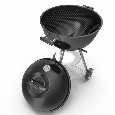 barbecue stove: Portable barbecue grill round shape on white background. 3D Illustration, clipping path
