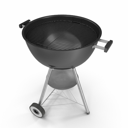 barbecue stove: Kettle barbecue grill with cover isolated on white background. 3D Illustration, clipping path