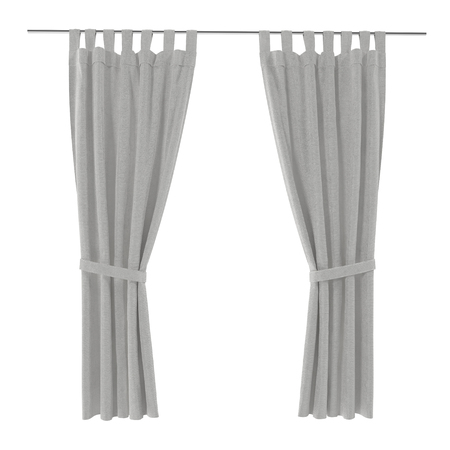 include: Classic warm white curtain. Front view. Isolated on white background. 3D illustration. Include path.