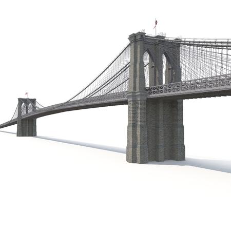 Puente de brooklyn en el fondo blanco. ilustración 3d Foto de archivo - 80270460