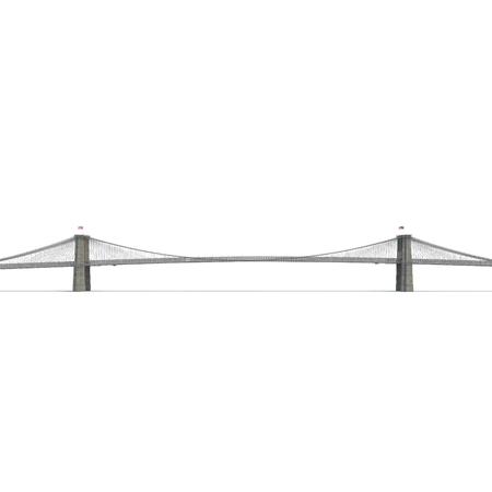 Brooklyn Bridge on white background. Side view. 3D illustration