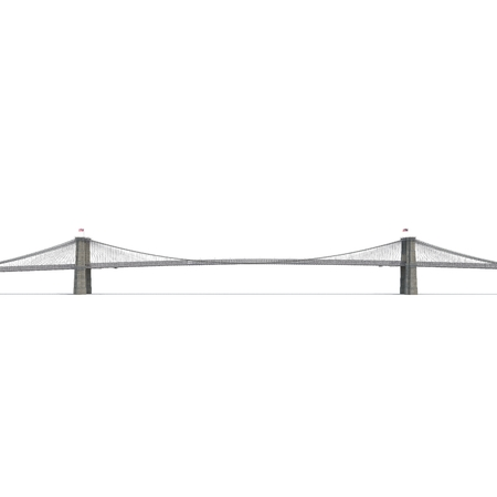 Brooklyn Bridge on white background. Side view. 3D illustration
