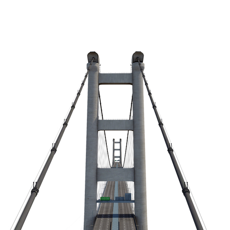 Tsing Ma Bridge on white background. 3D illustration