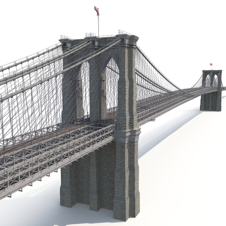 白い背景のブルックリン橋。3 D イラストレーション 写真素材