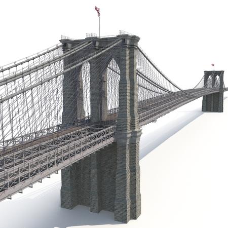 Brooklyn Bridge on white background. 3D illustration