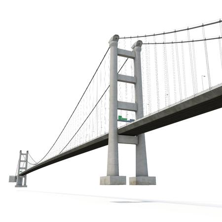 Tsing Ma Bridge on white background. 3D illustration