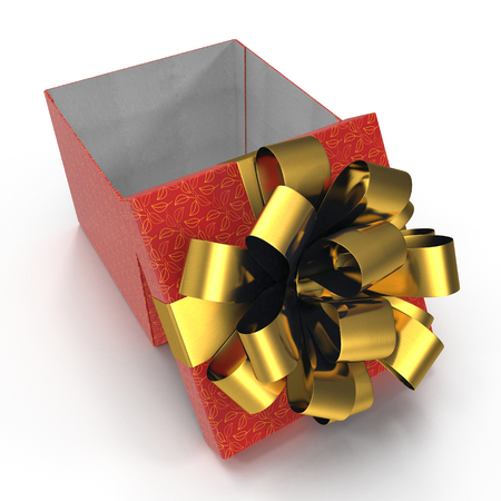 Red present box with golden overwhelming bow on white. 3D illustration, clipping path