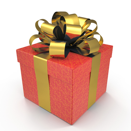 Present box with overwhelming bow isolated on white. 3D illustration, clipping path