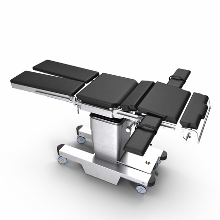 surgical equipment: Modern adjustable stainless surgery bed on a white. 3D illustration, clipping path Stock Photo
