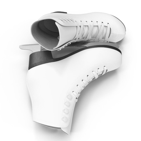 Pair of Womens Figure Ice Skates Isolated on White. 3D illustration, clipping path
