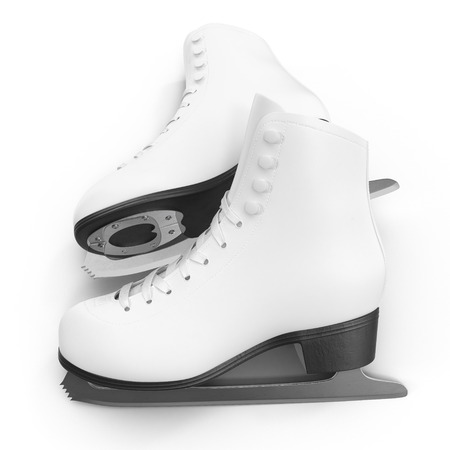 figure white skates isolated on white. 3D illustration, clipping path Stock Photo