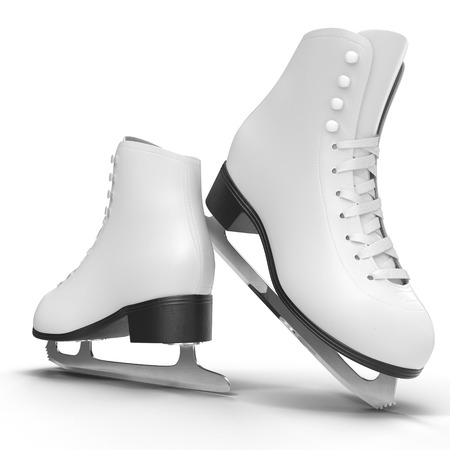 Pair of the white ice skates for girls, isolated on a white background. 3D illustration, clipping path Stock Photo