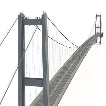 Bosphorus Bridge on white. 3D illustration Фото со стока