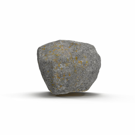 Stone isolated on white background. 3D illustration, clipping path
