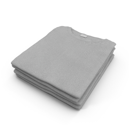 Stack of blank folded gray t-shirts on the white. 3D illustration, clipping path Stock Photo
