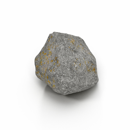 Rock stone isolated on white background. 3D illustration, clipping path Stock Photo