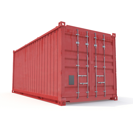 heavy: Red freight shipping container isolated on white. 3D illustration, clipping path