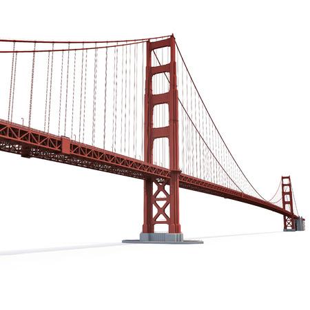 Golden Gate Bridge on white background. 3D illustration