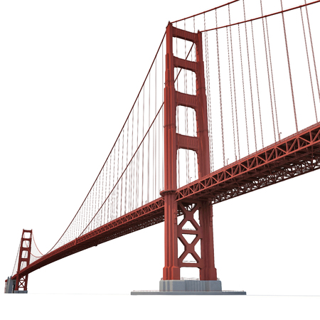 Golden Gate Bridge on white background. 3D illustration