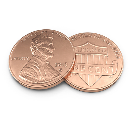 Lincoln penny on white. 3D illustration