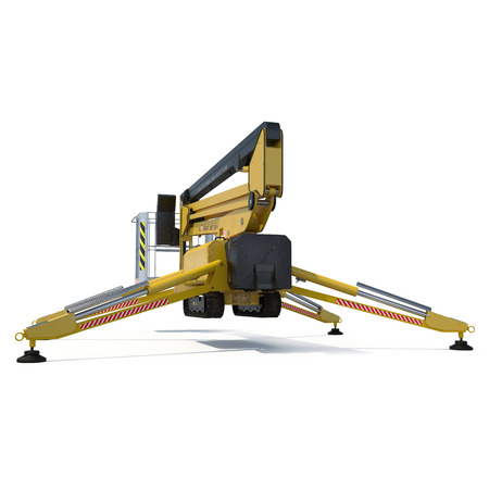 work path: Mobile aerial work platform - Yellow scissor hydraulic self propelled lift on a white background. 3D illustration, clipping path Stock Photo