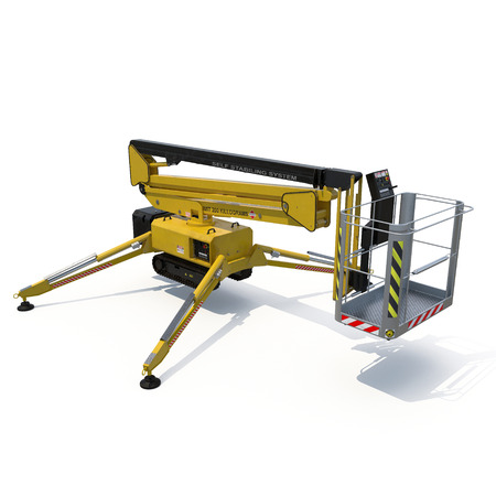 hydraulic lift: Mobile aerial work platform - Yellow scissor hydraulic self propelled lift on a white. 3D illustration, clipping path
