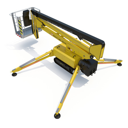 Mobile aerial work platform - Yellow scissor hydraulic self propelled lift on a white. 3D illustration, clipping path
