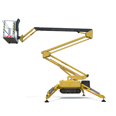work path: Mobile aerial work platform - Yellow scissor hydraulic self propelled lift on a white background. Side view. 3D illustration, clipping path Stock Photo