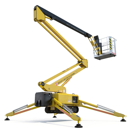 Engine Powered Scissor Lift on white background. 3D illustration, clipping path