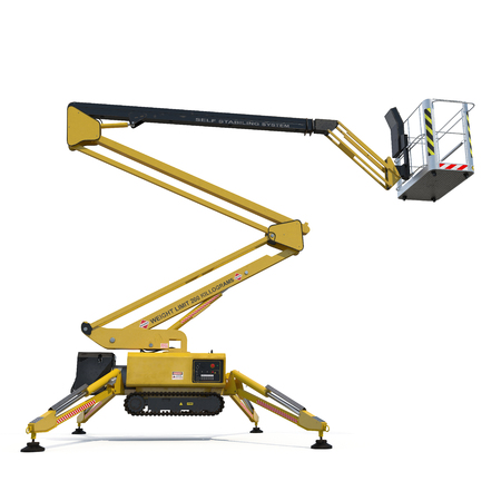 Mobile aerial work platform - Yellow scissor hydraulic self propelled lift on a white background. Side view. 3D illustration, clipping path Stock Photo