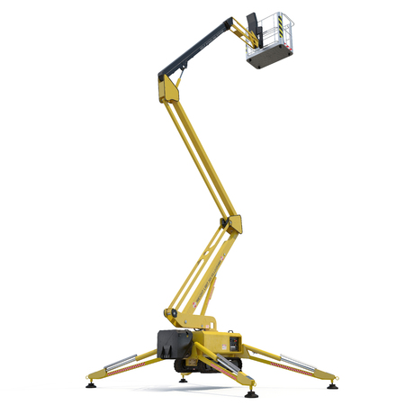 large yellow extended scissor lift platform on white background. 3D illustration, clipping path