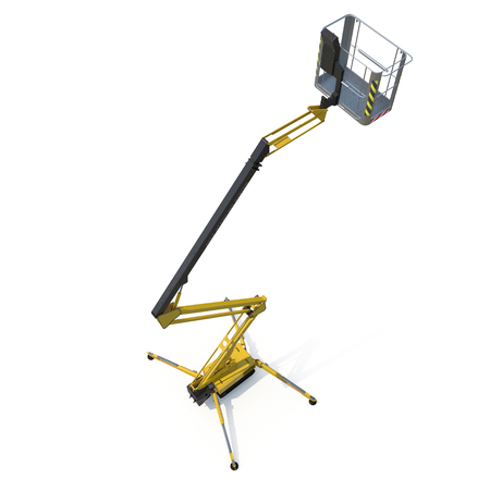 extended scissor lift on white background. 3D illustration, clipping path